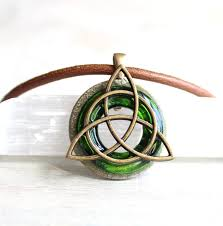 green triquetra necklace mens necklace mens jewelry celtic jewelry unique gift