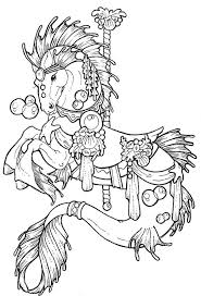Horse Carousel Colouring Pages 234596 Carousel