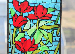 stained glass mosaic bright red poppies
