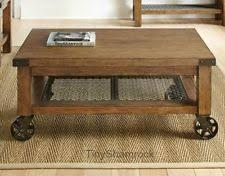 Industrial Coffee Table Cart Metal Wood Oak Rustic Style Living Room  Furniture