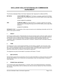 Exclusive Sollicitation Sales Commission Agreement Template Word