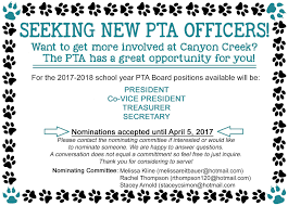 Pta Elections Flyer Now Seeking Pta Officers For 2017 18