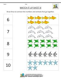 Math Worksheet Kindergarten Worksheets Match It Up Frightening ...