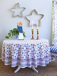 le cau tile french country farmhouse round tablecloth