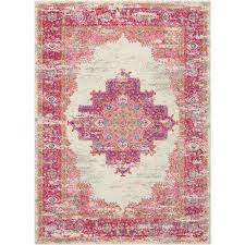 passion ivory fuchsia 5 ft x 7 ft area rug