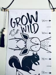 Canvas Growth Chart Height Chart For Kids Animal Growth Chart Woodland Kids Nursery Printed Canvas Decor Baby Nursery Decor Kids Decor
