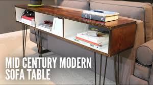 build a midcentury modern sofa table  youtube
