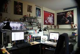 geeks home office workspace. computer desk with action figure decor ideas sailor moon colector in workspace geeks home office