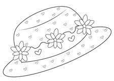 Hat With Flowers Coloring Page Stock Illustration Illustration Of