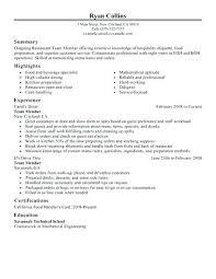Food Handler Resume – Foodcity.me
