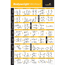 Pepronica Fitness Bodyweight Workout Exercise Strength Training Chart Home Gym Routine Glossy Wall Poster Paper 12x18 Inch Black
