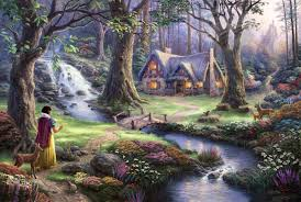 snow white discovers the cottage 18 x27 se canvas