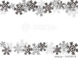 水彩フレーム 雪の結晶 モノクロのイラスト素材 34358378 Pixta