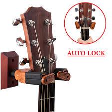 punk guitar wall hanger auto lock wooden wall mount holder acoustic el