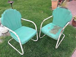 old retro metal lawn chairs with armrest