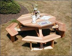 round picnic table wooden red cedar octagon walk in picnic table large round wooden picnic table