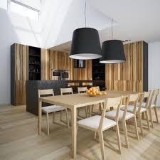 casual dining room lighting with double black drum shade pendant lamps over wooden dining set with clear glass fruit bowl centerpiece