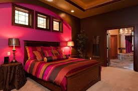 romantic magenta wall for charming bedroom inspiration ideas with formal wooden bed frame and stunning lampshades charming bedroom ideas red