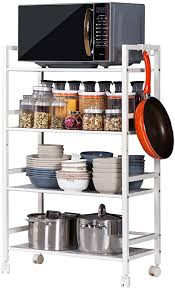 <b>Widen 4 Tiers</b> Multi-Functional Storage Cart Ivory White Home ...