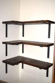 Corner Shelf w/ Industrial Steel Brackets - Industrial Shelf - Raw Steel Shelf  Bracket by