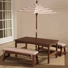 kidkraft outdoor table bench set with cushions umbrella ping the