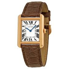 cartier tank solo silver dial brown leather strap las watch w5200024