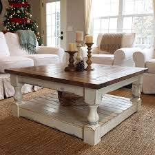 ... Square Solid Wood Antique White Coffee Table Designs Ideas With Shelf: antique  white ...