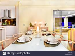 Table Diner Design Dinner Table Setting In A Modern House With Candles Diner