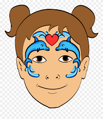dolphin face paint design clipart
