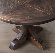 tables madison table x: salvaged wood x base round dining table