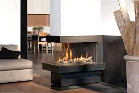 double sided fireplace insert ventless wood corner modern gas building