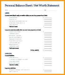 Simple Personal Balance Sheet Example Net Worth Statement Template