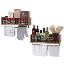 set of 2 rustic kitchen wood wall shelf with metal rail also multi use can be
