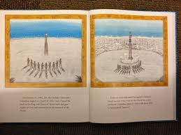 american ns in children s literature aicl follow the dream the page on the left shows columbus when he landed on a beach of white coral claimed the land for the king and queen of spain knelt and gave thanks to