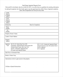 Sample Valuation Report Fascinating 48 Sample Appraisal Request Forms Free Sample Example Format
