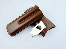 travel cigar holder cigar travel case holder 2 w cutter brown leather