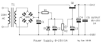 adjustable regulated power supply 0 15v 1a power supply circuits