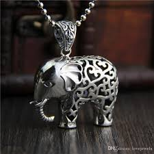 whole hip hop jewelry 925 sterling silver elephant pendant fashion vintage marcasite necklace for women hollow thai elephant sweater chain china love