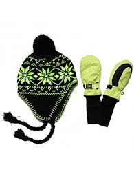 Snowstoppers Nylon Mittens And Neon Knit Hat Sets Medium Neon Green Green