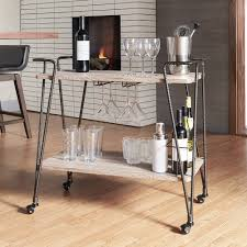 Metropolitan Dark Bronze Industrial Metal Mobile Bar Cart with Wood Shelves  by iNSPIRE Q Artisan - Free Shipping Today - Overstock.com - 19830261