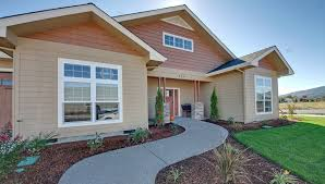 front door and front of house showing the lawn in oregon