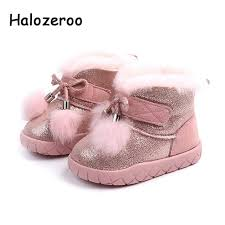 halozeroo new winter baby girl bow snow boots toddler warm shoes children pu leather boots brand