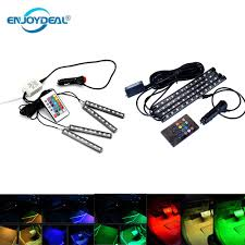 <b>4pcs 12V</b> Car RGB LED Strip Car Flexible Bar 5050SMD Interior ...
