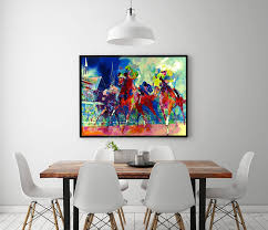 a1811 leroy neiman abstract ride a horse race hd canvas print home decoration living room bedroom wall pictures art painting in painting calligraphy from