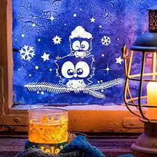 Ilka Parey Wandtattoo Welt Fensterbild Eule Eulchen Auf Zweig L 40x28cm Fensterdeko Fensterbilder Winter Sterne Schneeflocken Selbstklebend Für