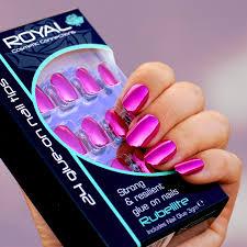 Royal Umělé Nehty V Sadě S Lepidlem Růžové Metalické Lesklé Rubellite 24 Glue On False Nails Tips 24ks
