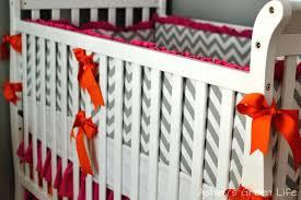 baby bedroom pink and orange crib bedding green life grey nursery