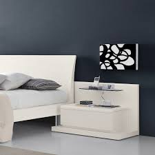 Interior: Extraordinary White Bed Idea And Trendy White Side Table Design  Idea Combined Heavenly Glass