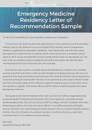 recommendation sample emergency medicine residency letter of recommendation sample