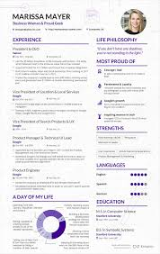a sample resume read a sample cv from marissa mayer business insider